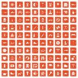 100 campa symboler för familj ställde in grunge orange Arkivfoto