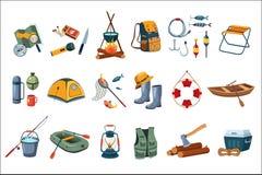 campa symbolsset Turist- utrustning, objekt för att fiska utomhus- aktivitet Sommarrekreation Plan vektordesign stock illustrationer