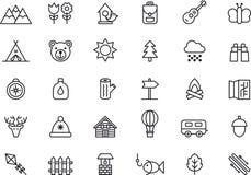 Campa, symbolsuppsättning för fotvandra, för natur & för utomhus- aktiviteter stock illustrationer