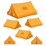 Campa tält i 3D som är isometrisk vektor illustrationer
