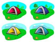 Campa tält med bakgrundslandskap Stock Illustrationer