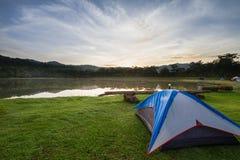 Campa tält på grönt gräs bredvid sjön med den dimmiga over skogen under soluppgång Royaltyfria Bilder