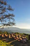 Campa tält på gryning på berget Fotografering för Bildbyråer