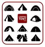 Campa tältsymbolsuppsättning stock illustrationer