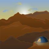 campa tent stora liggandebergberg Fotvandra och campa, affärsföretag royaltyfri illustrationer