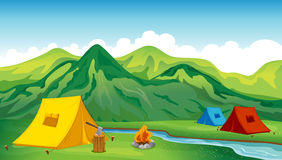 Campa tents Arkivfoton