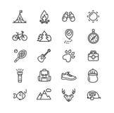 Campa turism som fotvandrar symbolsuppsättningen vektor royaltyfri illustrationer