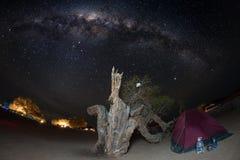 Campa under stjärnklar himmel och Vintergatanbåge, med detaljer av dess färgrika kärna, utstående ljust som fångas i sydliga Afri Royaltyfria Foton