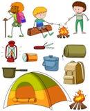 Campa uppsättning med campare och tältet royaltyfri illustrationer