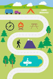Campa utomhus- infographicsvektorillustration Arkivfoton