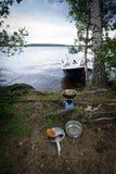 Campa utomhus- matlagning Arkivfoto