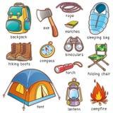 campa utrustning stock illustrationer