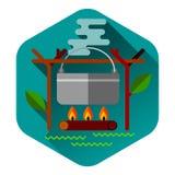 Campa utrustning för begrepp för utomhus- aktivitet för sommar Royaltyfria Bilder