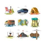 Campa Utrustningsymboler och symboler vektor illustrationer