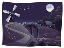Campagna con il mulino a vento nella notte Fotografia Stock Libera da Diritti