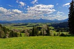 Campagna di Allgau con la vista alle alpi in primavera Fotografia Stock