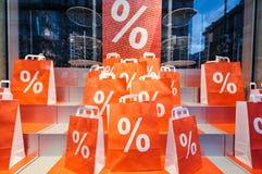 Campagna di marketing con i sacchetti della spesa di vendita i Fotografia Stock Libera da Diritti