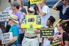 Campagna difficile del ` s della gente alla biblioteca centrale di Indianapolis immagine stock libera da diritti