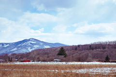 Campagna pittoresca con i terreni arabili Immagine Stock Libera da Diritti