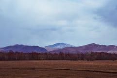 Campagna pittoresca con i terreni arabili Fotografie Stock Libere da Diritti