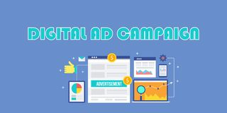 Campagna pubblicitaria di Digital, pubblicità di Internet, annunci sociali di media, vendita mobile, concetto della pubblicità di illustrazione di stock