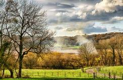 Campagna rurale vicino a Leighton Moss fotografie stock libere da diritti