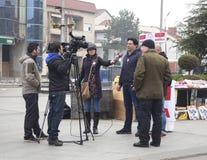 Campagne électorale avant des élections parlementaires dans Macédoine en décembre 2016 Image libre de droits