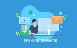 Campagne de marketing courante de bulletin d'information d'email de négociant de Digital pour des abonnés Bannière plate de vecte illustration stock