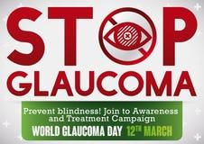 Campagne de sensibilisation pour empêcher et arrêter la maladie de glaucome, illustration de vecteur illustration libre de droits