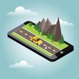 Campagne isométrique Route d'été Cheminement mobile de geo carte La voiture passe par des roches et des arbres Taxi illustration stock