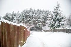 Campagne lithuanienne de village, barrières en bois Image libre de droits