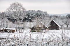 Campagne lithuanienne de village en hiver Photographie stock