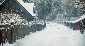 Campagne lithuanienne de village en hiver Images libres de droits
