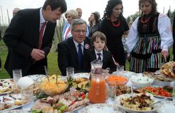 Campagne présidentielle de Bronislaw Komorowski images libres de droits