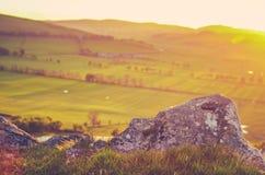 Campagne scénique d'écossais de coucher du soleil photos stock