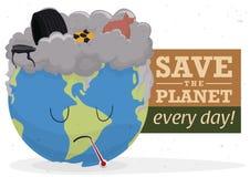 Campagne tegen Verontreiniging met een Droevig Wereld en een Afval, Vectorillustratie Stock Foto's