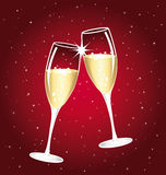 Campagne toast. Champagne toast on a red festive background royalty free illustration