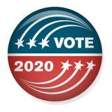 2020 Campagneverkiezing Pin Button of Kenteken met Patriottische Sterren Stock Foto
