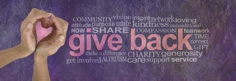 Give Back with Love Word Cloud. Campaign banner with female hands making a heart shape with pink behind on left and a GIVE BACK word cloud on right against a stock photography