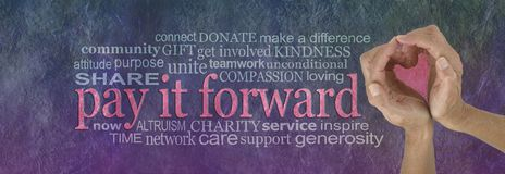 PAY IT FORWARD with love word cloud. Campaign banner with female hands making a heart shape on right, with a PAY IT FORWARD word cloud beside on a rustic purple royalty free stock photo
