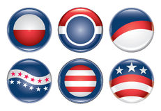 Campaign Buttons Blank. Illustration of six blank United States election campaign buttons Royalty Free Stock Images