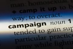Campaign. Word in a dictionary.  concept stock images
