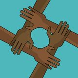 Campaign freedom hand together anti racist. Vector illustration Stock Photography