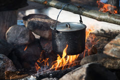 Campaign pot and fire, tourism, travelling. Outdoor Royalty Free Stock Photos