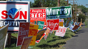 Campaign Signs. Stretching as far as the eye can see. This month much of the United States is holding primary elections to determine which candidates will face Royalty Free Stock Image