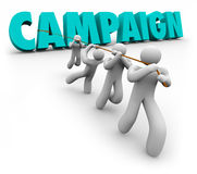 Campaign Word Team Pulling Letters Promotion Marketing Election. Campaign word in 3d letters pulled by a promotion, marketing, advertising or election committee Royalty Free Stock Photo