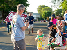 Campaign Worker and Family at Parade Stock Photography
