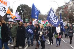 Campaigners march through Brighton, UK in protest against the planned cuts to public sector services. The march was organised by B Stock Photography