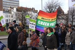 Campaigners march through Brighton, UK in protest against the planned cuts to public sector services. The march was organised by B Royalty Free Stock Images