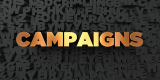 Campaigns - Gold text on black background - 3D rendered royalty free stock picture Royalty Free Stock Photos
